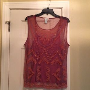 Beautiful berry-colored mesh embroidered top